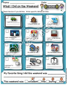 Speech Therapy. What I did on the WEEKEND. events conversation. Visual Selection choices. Great for autism, special needs, auditory processing, ADHD. Repinned by SOS Inc. Resources pinterest.com/sostherapy/.