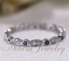 Stock! 14k White Gold Blue Sapphires & Diamonds Ring/ Band Art Deco Full Eternity Band / Wedding Ring/ Promise Ring/ Engagement Ring on Etsy, $280.00