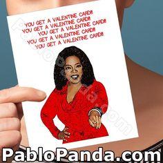 Funny Valentine Card Oprah Funny Love Card by PabloPanda on Etsy Birthday Cards For Boyfriend, Birthday Cards For Him, Valentines Gifts For Boyfriend, Funny Birthday Cards, Kids Valentines, Card Birthday, Funny Valentine, Funny Greetings, Funny Greeting Cards