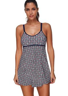 Printed Round Neck Strappy One Piece Swimdress on sale only US$27.70 now, buy cheap Printed Round Neck Strappy One Piece Swimdress at liligal.com
