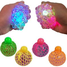 Squishy glitter light up mesh ball. Squeeze it for the insides to spill out the net. Bang it for it to light up. Perfect for stress relief toy. Little Girl Toys, Toys For Girls, Kids Toys, Figet Toys, Pop Toys, Kids Toy Shop, Toys Shop, Stress Toys, Stress Relief Toys