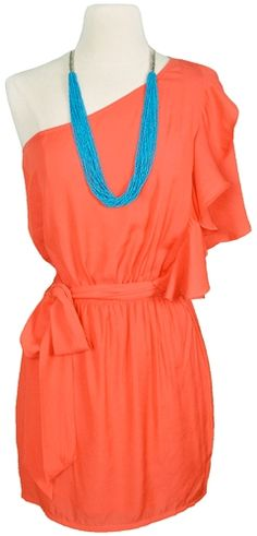coral one shoulder ruffle sleeve dress...perfect for a nice Sunday brunch with the girls