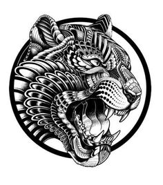 t-shirt commissions for Outsider apparel. 2014 tiger design - Iain Macarthur