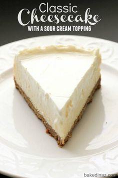 Nana's Famous Cheesecake! Easy to make and so creamy good! bakedinaz.com