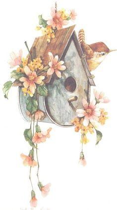 Birdhouse with Wren 10x6 lithograph | CShoresInc - Print on ArtFire