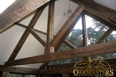 Oak Roofs & Trusses by Oakmasters. Traditionally crafted king post oak trusses for a stylish look. Deck With Pergola, Outdoor Pergola, Pergola Plans, Diy Pergola, Pergola Ideas, Detail King, Roof Truss Design, Roof Trusses, Roof Structure