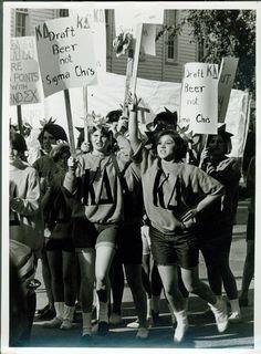 "Kappa Deltas protesting the Vietnam draft - ""Draft Beer, Not Sigma Chis"""