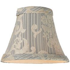 Cream and Blue Brocade Bell Lamp Shade 3x6x5 (Clip-On)