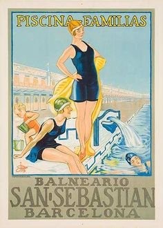 Global Gallery 'San Sebastian / Piscina Familias, Barcelona' by G. Riom Vintage Advertisement on Wrapped Canvas Size: Old Poster, San Sebastian Spain, Retro, Beach Posters, Art Nouveau, Vintage Travel Posters, Custom Posters, 5 D, Poster Prints