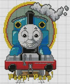 Thomas train x-stitch