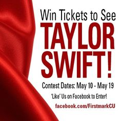 Enter to win TWO tickets to the SOLD OUT #TaylorSWIFT concert on May 22 in #SanAntonio #Texas! Enter to win here. http://l.inkto.it/640t To make this contest even sweeter, EACH TIME you SHARE through #3 on the contest app you will receive an ADDITIONAL CHANCE TO WIN!