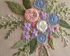 Bouquet of flowers embroidery hoop art gift for women / Hand stitched gallery wall art / Framed floral home decor / Fiber art room decor - Dollar tree christmas diy Herb Embroidery, Cushion Embroidery, Embroidery Flowers Pattern, Silk Ribbon Embroidery, Embroidery Hoop Art, Hand Embroidery Designs, Floral Embroidery, Flower Patterns, Brazilian Embroidery