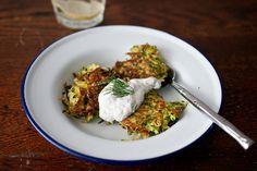 Zucchini Green Garlic Latkes with Yogurt Dipping Sauce by sassyradish #Zucchini #Latkes #sassyradish