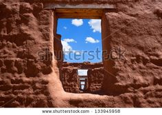 View Through Windows In A Row Of Ruins Of Red Adobe Style Buildings Stock Photo 133945958 : Shutterstock