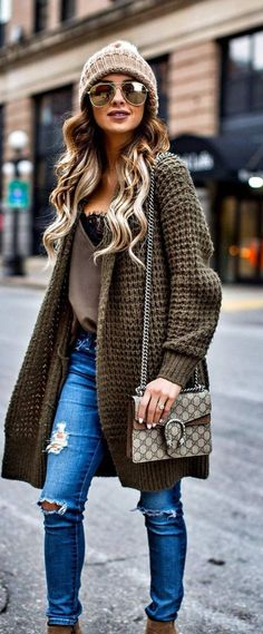 #fall #outfits women's brown knitted over-coat