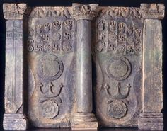 Frieze showing the Buddha's footprints, Gandhara (stone) 1st to 5th Century AD;