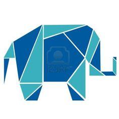 Elephant in origami style Stock Photo