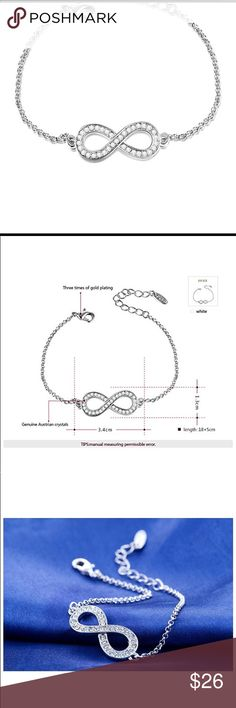 18K White Gold Plated Infinity Love Chain Bracelet 18K White Gold Plated Infinity Love Chain Bracelet Jewelry
