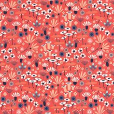 Wildflowers in Crimson (Coral) by Elizabeth Olwen - Yard Wildwood - Cloud 9 Collective OE 100 Certified Organic Cotton Coral floral Textile Patterns, Color Patterns, Print Patterns, Textiles, Floral Patterns, Graphic Patterns, Laminated Cotton Fabric, Cotton Quilting Fabric, Cloud 9