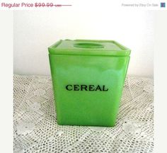 Amazing! A Jadite cereal canister. $85