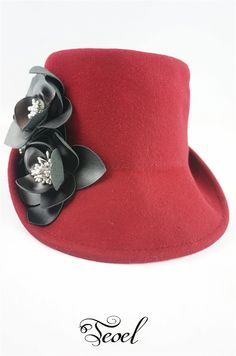 Stylish Floral Corsage Wool Hat Burgundy color