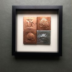 Hand illustrated copper and tinned copper fossils framed. #handmade #art #emboss #copper #tinned #frame #home #decor