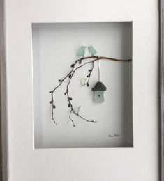 Genuine SeaGlass Pebble Art Bird Family with Bird House in a Shadow Box Frame Modern WallArt Abstract Contemporary Signed. This signed original pebble art is made by me, Susi Uhl. The pebble art is a unique style made of pebbles collected by me and would be a perfect idea for nursery decor