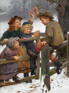 "Artist Arthur John Elsley ""At Bay / Mistletoe"" For Sale - Fine Art Painting - The Willow Gallery Weybridge Surrey & London - Fine Art Galler..."
