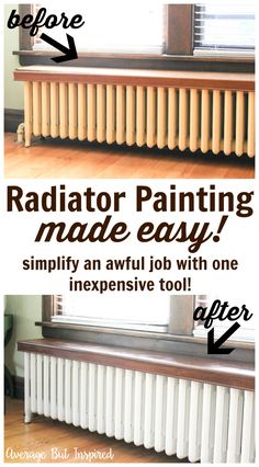 Radiator painting can be time consuming and tedious, but not with this tutorial! Lean how to paint a radiator the easy way! Save time and frustration. Decor, Home Diy, Radiator Cover, Home, Renovations, Home Radiators, New Homes, House, Home Renovation