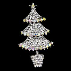1 PC Christmas Tree Clear Crystal AB Rhinestone Brooch Pin Silver Bonquet Gift | eBay