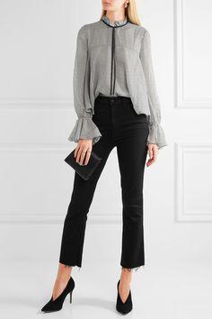 aea753686cd Saloni - Tyler ruffled polka-dot silk-chiffon blouse. Black ...