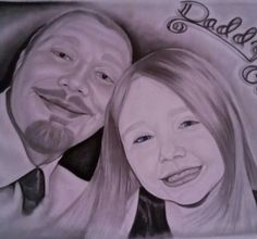 Graphite drawing of my daughter and I.