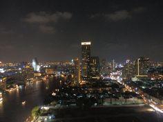 View from the rooftop bar at the Millennium Hilton, Bangkok Rooftop Bar, Seattle Skyline, Bangkok, San Francisco Skyline, Family Travel, Thailand, Family Trips, Family Vacations, Family Destinations