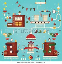 Modern vector illustration of christmas gifts factory - stock vector