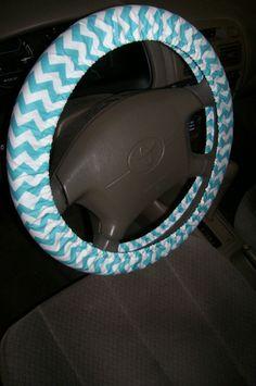 Aqua Chevron Steering Wheel Cover. $15.00, via Etsy.