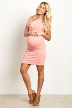 Coral Short Sleeve Fitted Maternity Dress
