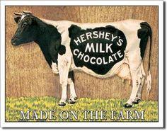 Vintage Retro Kitchen Tin Signs - Hershey's Cow