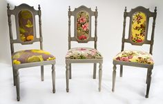 The classic redesigns meticulously made in Turkey handmade upholstered best quality fabrics. Total 6 chairs; 3 different floral printed fabric with 2 pairs each