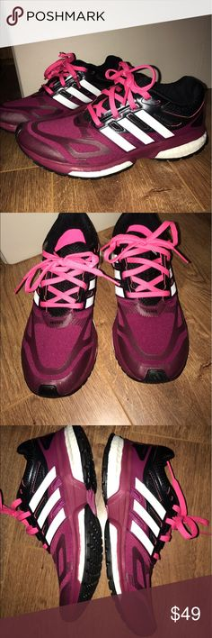 NWOT Adidas sneakers So so so comfortable. Adidas sneakers in cool shades of dark pink and plum. Never worn. I took the tags off of them yesterday but it turns out they are too big for me. Seriously so comfy. Offers welcome. 25% off bundles. adidas Shoes Sneakers