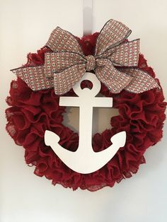 A personal favorite from my Etsy shop https://www.etsy.com/listing/527486254/anchor-wreath-natural-burlap-white
