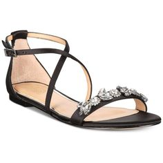 Jewel Badgley Mischka Tessy Sandals ($79) ❤ liked on Polyvore featuring shoes, sandals, black, gladiator sandal, black rhinestone sandals, badgley mischka sandals, black sparkly sandals and roman sandals