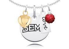 "Southeast Missouri State Redhawks Cluster Necklace with Heart, Color and Love Accents. Officially Licensed. Standard Chain Length is 16"". Circle Charm Size is 17mm (size of a dime). Crystal Ball Measures 5mm in Diameter. ""The indicia featured on this product is a protected trademark owned by the respective college or university.""."
