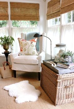 design indulgence: July 2013 (wing chair slipcover) love the tray on topnof the basket Style At Home, Rustic Sunroom, Estilo Country, Sunroom Decorating, Rattan Furniture, Plywood Furniture, Slipcovers For Chairs, My New Room, Porches