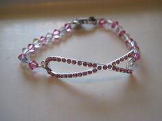 Pink Ribbon Bracelet Pink Swarovski Bracelet by CASSELIZADESIGNS, $15.00