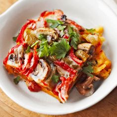 Replace your traditional lasagna with this delicious and healthy Vegetable-Polenta Lasagna! More meatless recipes: http://www.bhg.com/recipes/vegetarian/classic-meatless-recipes/?socsrc=bhgpin071013vegetablelasagna=9