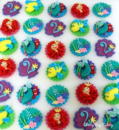 The Little Mermaid Children's Themed Fondant Cupcake Toppers