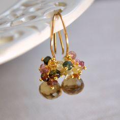 NEW Gemstone Drop Earrings Tourmaline Clusters by livjewellery