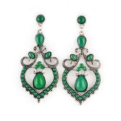 $3.56 Pair of Bohemian Waterdrop Shape Faux Gem Beading Heart Earrings For Women