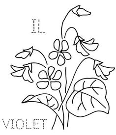 Embroidery - State flower quilt block: Illinois, Violet
