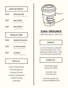 Ivory Coffee Minimalist Resume
